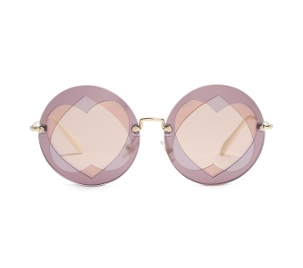 MIU MIU Two Heart-overlay round-frame sunglasses