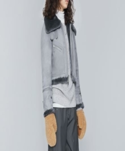 THE ARRIVALS  MOYA MINI Crop Shearling Moto  – Washed Grey