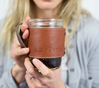 TAN Kurier removable full grain Leather Camp Mug / mason ball canning jar mug travel coffee cup with handle handmade in USA 16 oz. glass jar included. Great Father's Day gift idea!