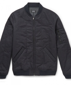 A.P.C. – Padded Cotton-blend Twill Bomber Jacket – Midnight blue