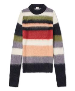 SAINT LAURENT Mohair Stripe Crew Knit  Multicolour