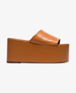 SIMON MILLER Camel Brown Blackout 110 Leather Flatform Sandals