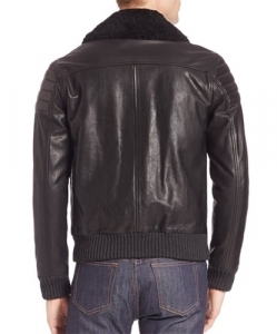 A.P.C. Steven Shearling-Trimmed Leather Jacket