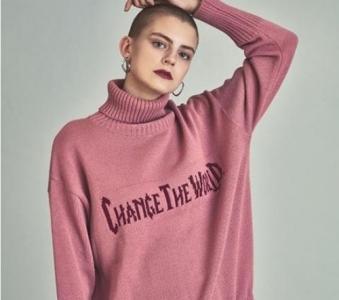 Vg Turtleneck Knitwear Pink