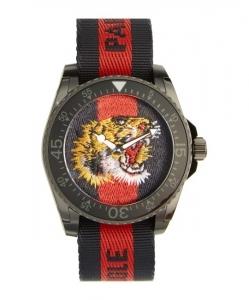 GUCCI Tiger Insignia Web Strap Watch, 45mm